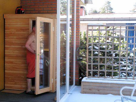 Infrared sauna installed on the terrace in winter time.  www.saunalahja.fi