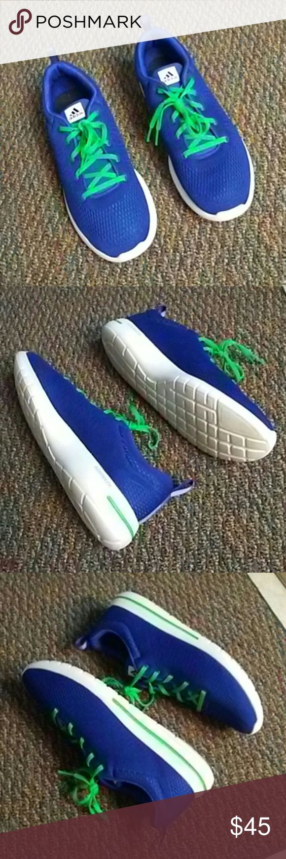 Adidas Running Shoes + Adiprene 2015 MEN's Gently Used Adidas cobalt blue and neon green and white in Excellent Condition still looks NEW.. adidas Shoes Athletic Shoes