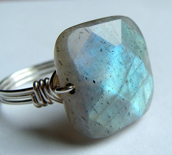 Square Labradorite Gemstone Ring Wire Wrapped in Sterling Silver Cocktail Ring