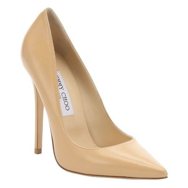 Jimmy Choo Nude leather 'Anouk' pumps (635 CAD) ❤ liked on Polyvore featuring shoes, pumps, heels, nude, pointed-toe pumps, nude high heel pumps, stiletto heel pumps, leather sole shoes and nude shoes