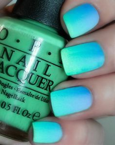 OPI Caribbean Ombre™ Matte Manicure~You Are So Outta Lime, No Room For The Blues, OPI Matte Top Coat Nail Polish With easy instructions