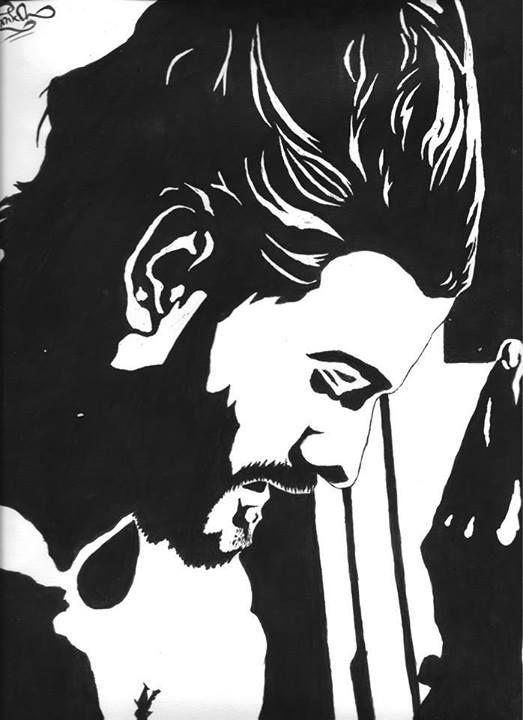 Hombre en Blanco y Negro (Tinta China)