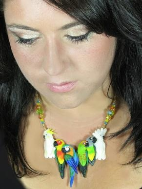 Handmade parrot and bird jewelry