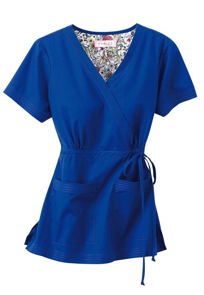Koi Katelyn mock-wrap scrub top. - Scrubs and Beyond Royal Blue