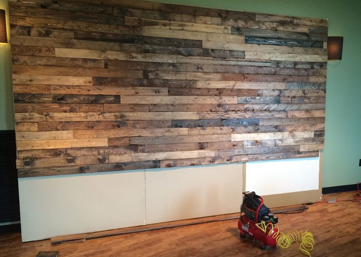 how to distress wood create a faux pallet wall time. Black Bedroom Furniture Sets. Home Design Ideas