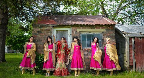 Sensational fuchsia Anarkali Bridesmaids dresses for an Indian wedding. #shaadishop