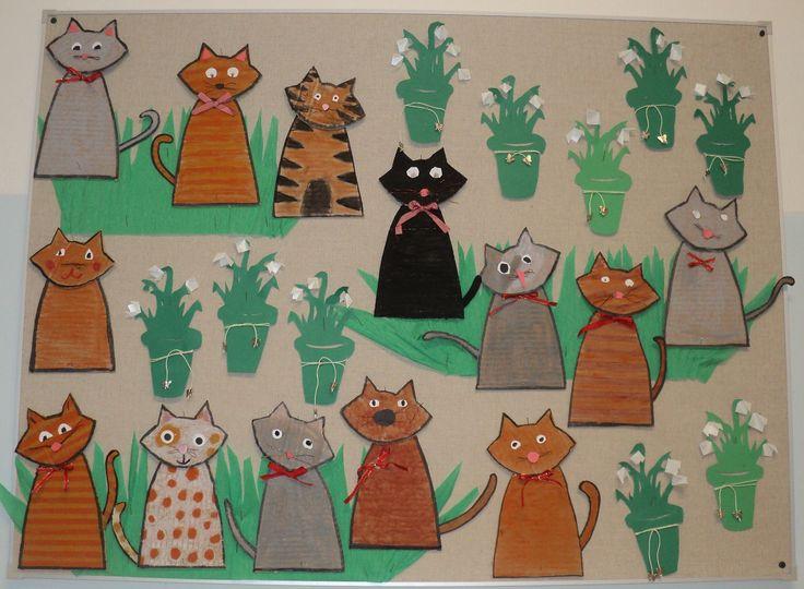 Předjaří - sněženky a kočky (olejové pastely)