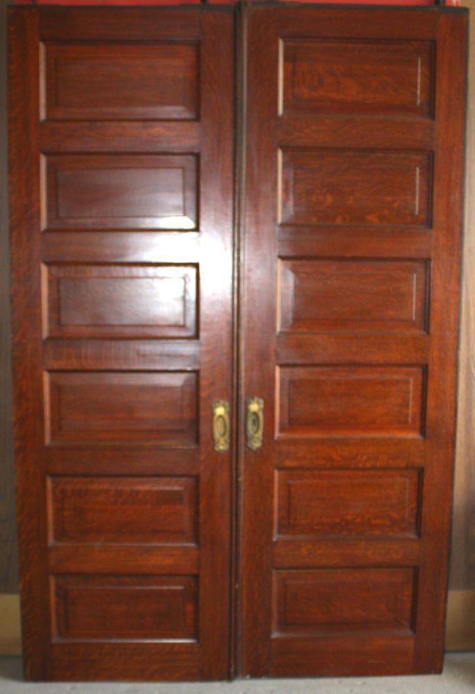 Antique Six Panel Quarter Sawn Oak Pocket Door Vintage