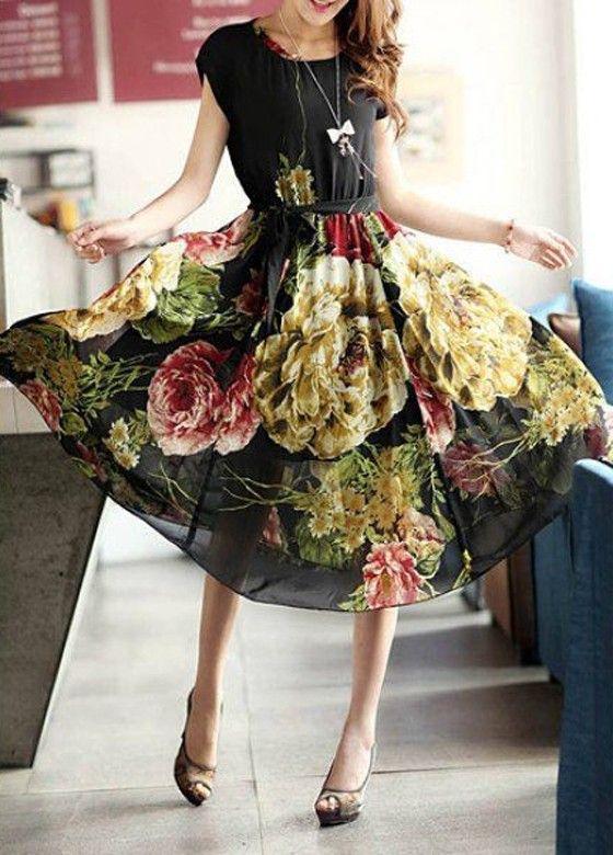 Gorgeous Dark Floral Print! Black Flowers Print Sashes Draped Bohemian Dress