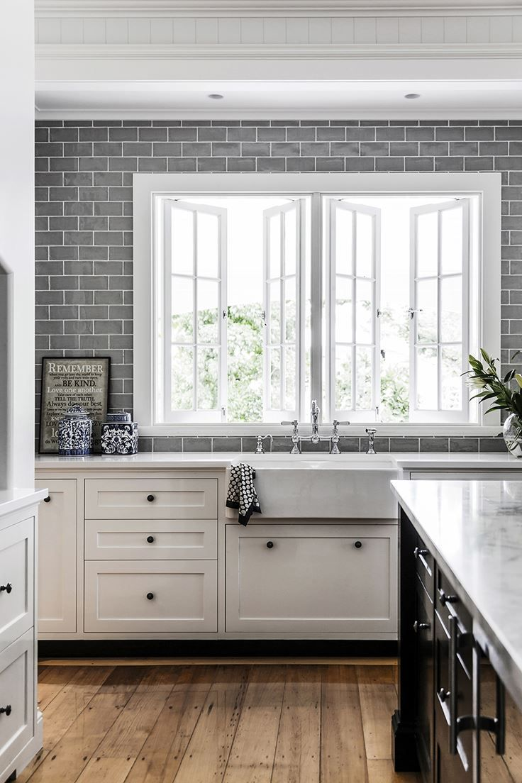 Kitchen grey and white: love the gray subway tiles
