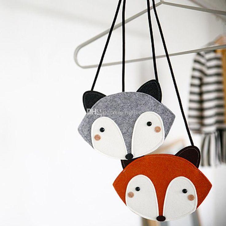 2 Color children Fashion cartoon fox wallet 2016 new girl cute fox bag fox purse Handbag wallet 12*17Cm