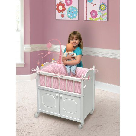 """Badger Basket Gingham Doll Crib with Cabinet, Bedding, Mobile and Wheels - White/Pink - Fits Most 18"""" Dolls & My Life As"""