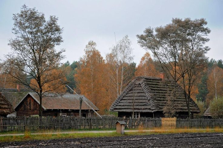 Old cottages in the skansen (folk museum) in Kolbuszowa, Poland [source].