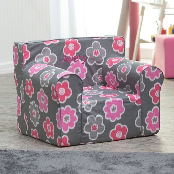 Here and There Kids Chair - Ikat Floral Dark Pink - 61256P-1, Customized/Personalized