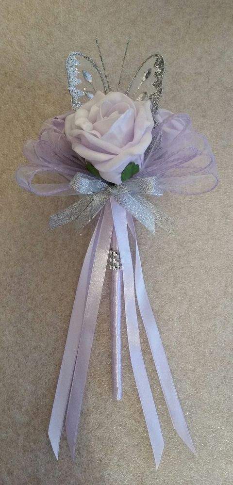 Details about Wedding Flowers Bridesmaid Wands Silver Butterfly Lavender Roses…