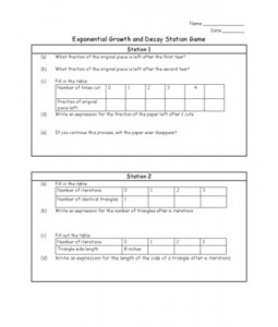 worksheet to accompany exponential growth and decay stations game algebra 2 pinterest. Black Bedroom Furniture Sets. Home Design Ideas