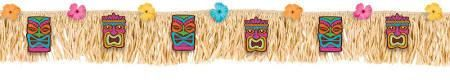 This banner is made with raffia fringe with tiki cutouts and different colored hibiscus flowers. This banner is a great decoration for luaus, birthdays, and mor