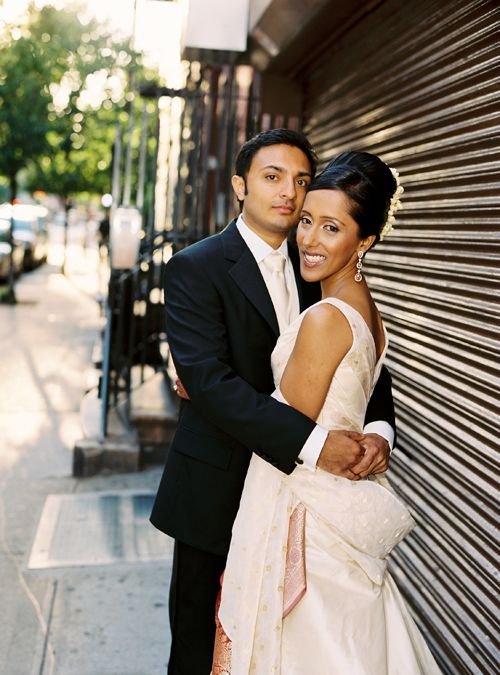 Debjani and Sandeep pause for a portrait in the Lower East Side of Manhattan, near their venue Angel Orensanz on Norfolk Street. #IndianWedding
