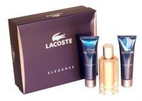 £23.99- Lacoste Elegance Trio Gift Set Set contains 50ml After Shave Balm, 50ml Shower Gel and 50ml Eau de Toilette natural spray.