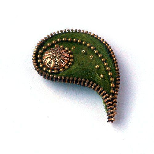 Unusual Zipper Brooch, Olive Felt Leaf with Button, Pinki Handmade Jewelry on Etsy, $30.00