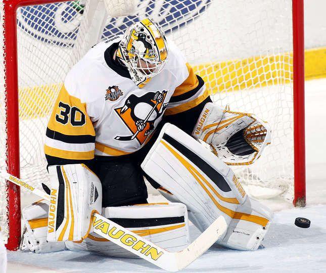 DECEMBER 8: Goaltender Matthew Murray #30 of the Pittsburg Penguins defends the net