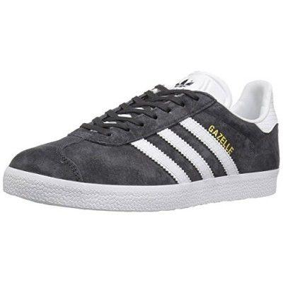 adidas Originals Women\u0027s Gazelle W Fashion Sneaker, Utility Black White /Metallic/Gold,