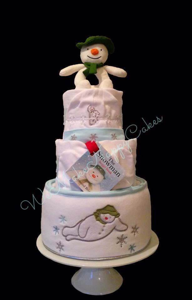 3 Tier Christmas Nappy Cake featuring Raymond Briggs' The Snowman - New Baby & Baby's First Christmas