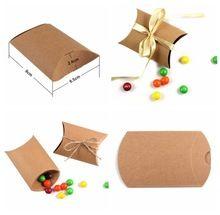 Neue Kreative! 50 Teile/los Neuen Stil Kraft Kissenform Hochzeitsbevorzugungsgeschenk Box, Partei Pralinenschachtel bonbons sacs Versorgung Großhandel(China (Mainland))