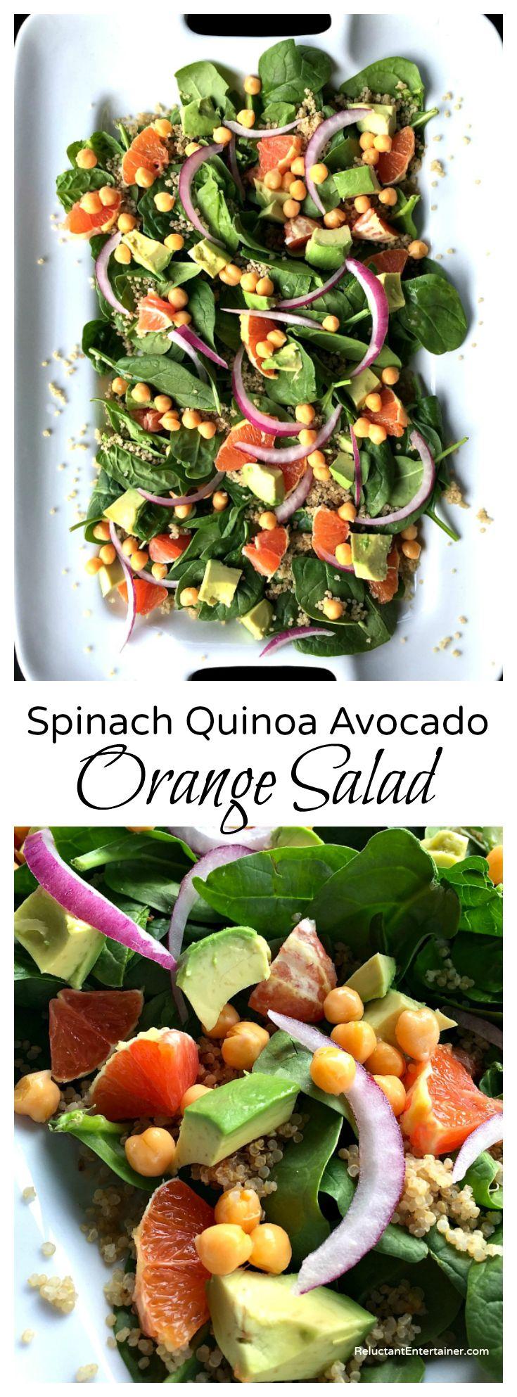 Spinach Quinoa Avocado Orange Salad