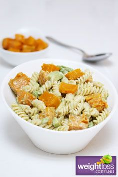 Healthy Entertaining Recipes: Pumpkin & Avocado Pasta Salad. #HealthyRecipes #DietRecipes #WeightlossRecipes weightloss.com.au