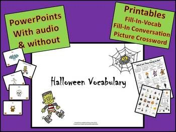 esl halloween vocabulary listening powerpoints and printables - Esl Halloween Games