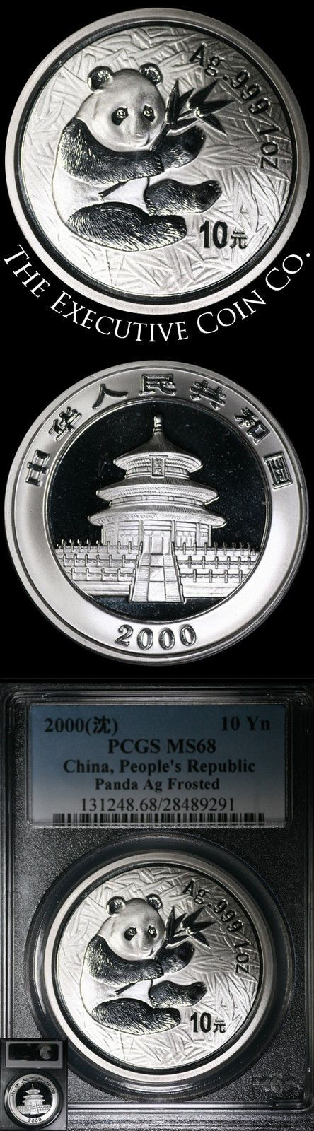 2000 10 YUAN China PR 1 ounce Silver Panda Ag Frosted PCGS MS68 PCGS MS68