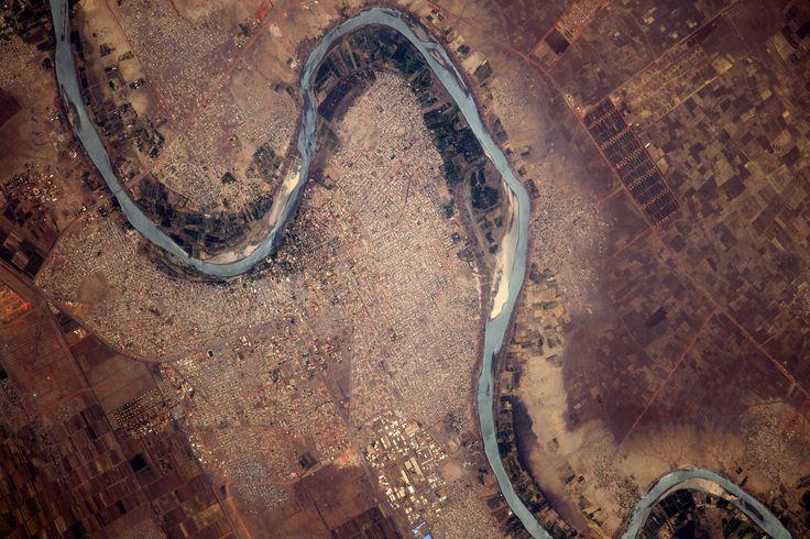 Thomas Pesquet, Astronaute français sur l'ISS : le fleuve Nil Bleu près de Wad Madani, Soudan, Afrique (08/04/2017)