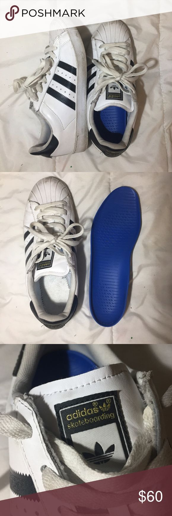 adidas skateboarding superstars adidas shell toe skate superstars removable insoles I've only worn these like twice just too lazy to clean them up they could look brand new men's size 6 womens 8 Adidas Shoes Sneakers