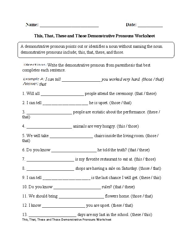 This,That,These,Those Demonstrative Pronouns Worksheet