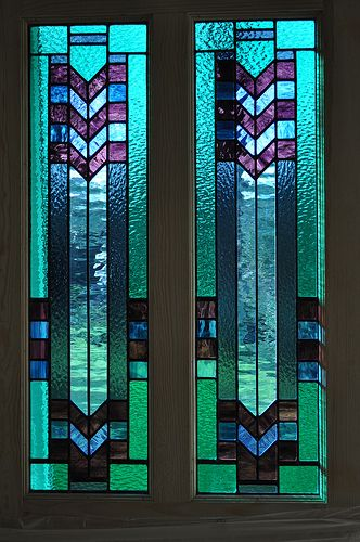 Art Deco door panels by John Hardisty. Audrey's comment: I love these panels - what a wonderful sense of light & colour, cheerful & uplifting ...