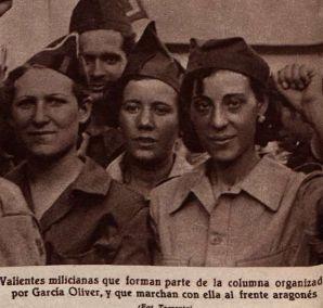 """milicianas de la columna organizado por Garcia Oliver, """"Cronica,"""" 6 marzo, 1936"""