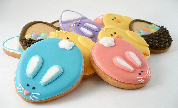 Decorated Cookies  Easter Baskets  Chicks  Easter by katieduran, $30.00 #cutefood #eastercookies