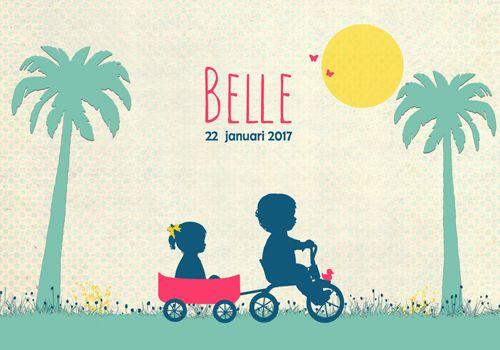 Geboortekaartje Belle - Pimpelpluis - https://www.facebook.com/pages/Pimpelpluis/188675421305550?ref=hl (# meisje - broer - broertje - fiets - gras - boom - palmboom - zon - vrolijk - retro - vintage - silhouet - lief - origineel)