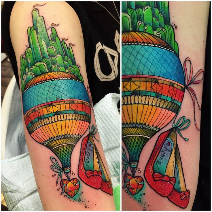 Wizard of Oz Hot Air Balloon tattoo by Katie Shocrylas