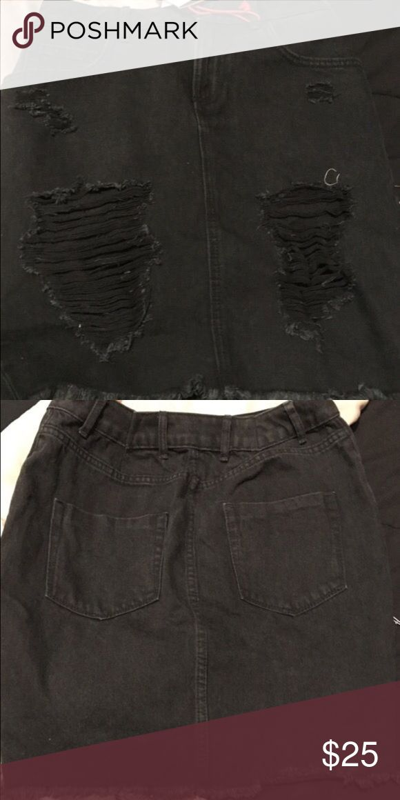 Distressed Denim Skirt Black  Distressed Denim  Slim fit Skirt  Size 4 (fits like size 2) BRAND NEW!!! Cotton On Skirts Mini