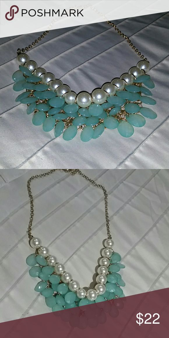Womens necklace Never used gold and mint green fashion necklace with pearls 23 inches in length with adjustable  clasp Jewelry Necklaces