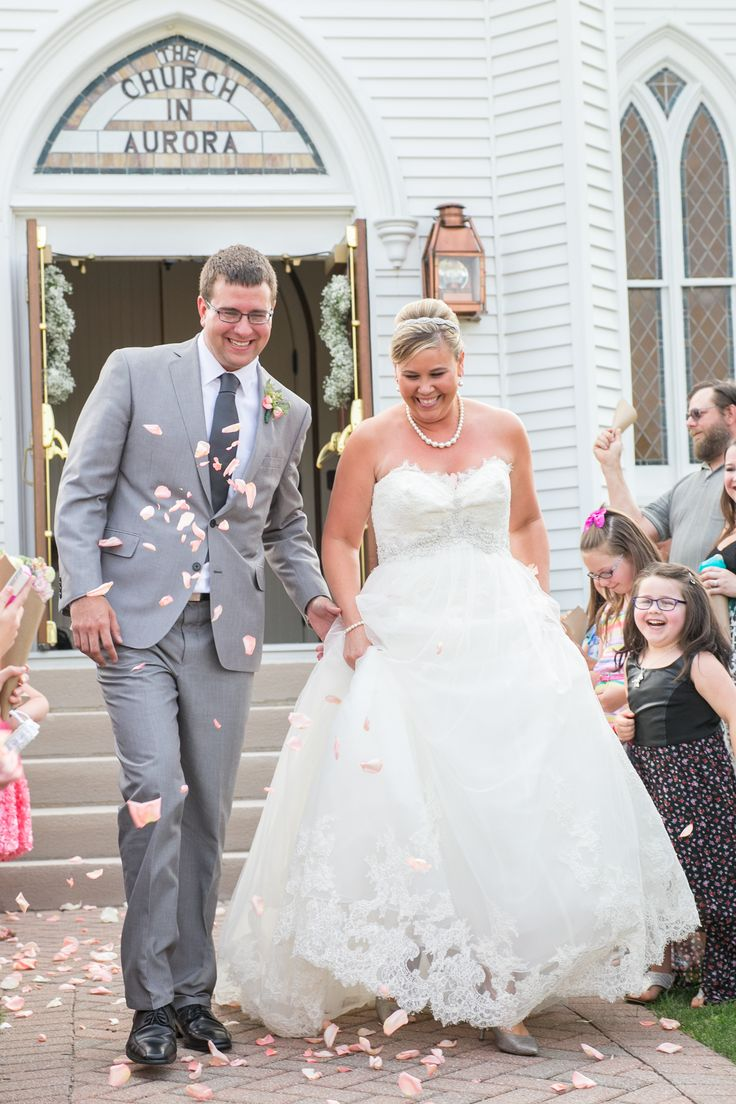 Spectacular petal toss church exit country chic wedding summer wedding Cleveland OhioAuroraCountry