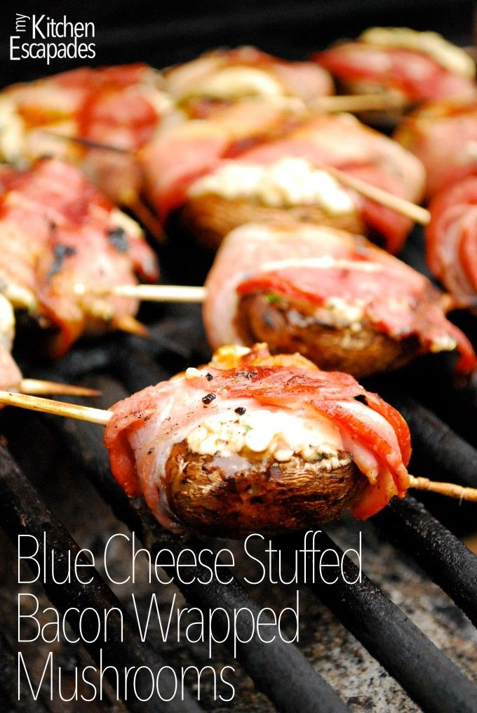 Blue Cheese Stuffed Bacon Wrapped Mushrooms - simple grilled appetizer that are the best little bites!