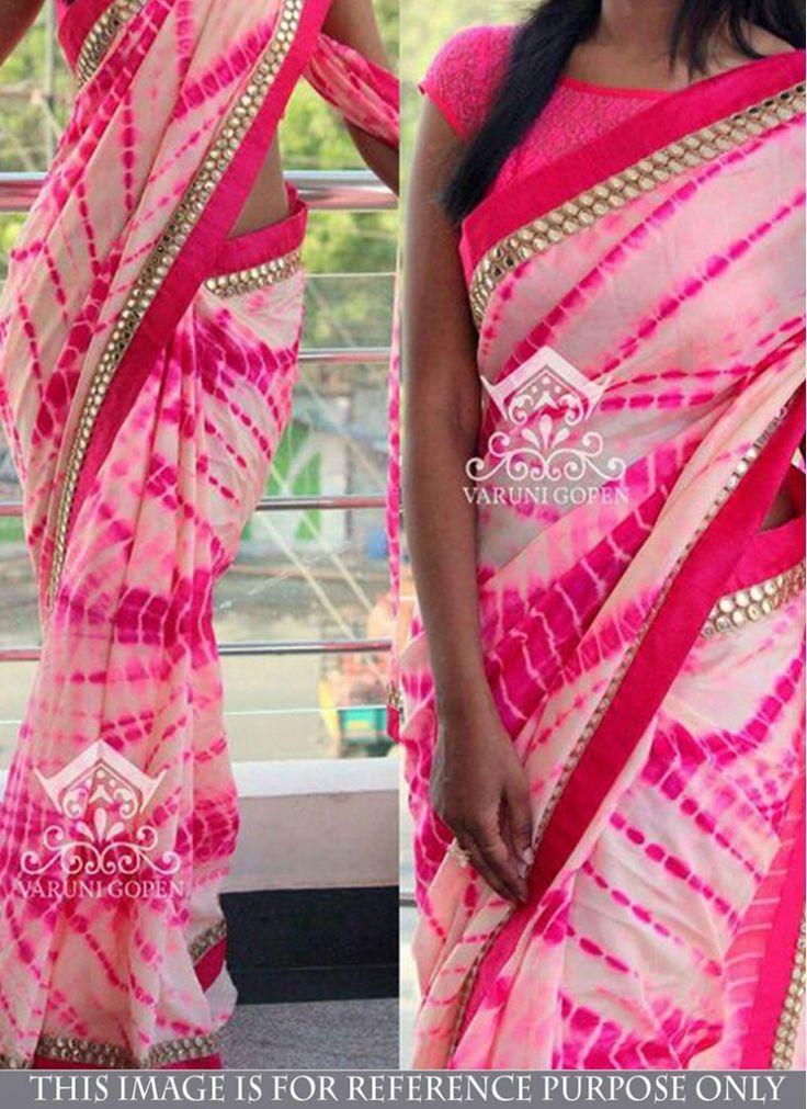 Georgette Pink Bandhej print Trendy Saree