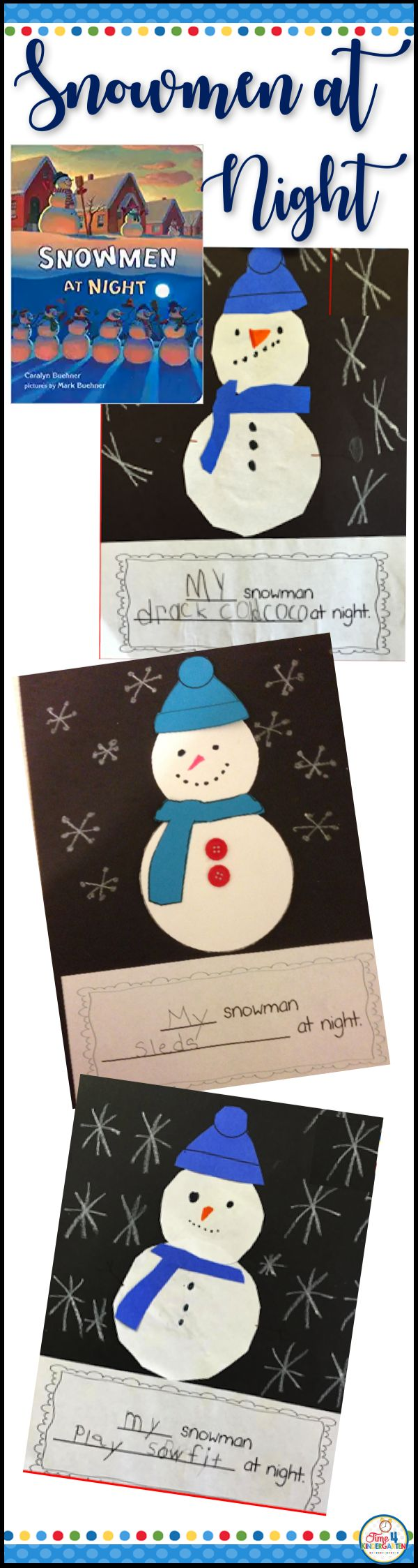 Snowmen at night.  Read the book and make this cute literacy extension craft to go with it.  Explore your students imagination to find out what they think snowmen do at night.