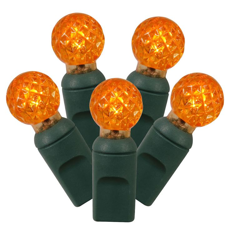 """Set of 100 Orange LED G12 Berry Christmas Lights 4"""" Spacing - Green Wire"""