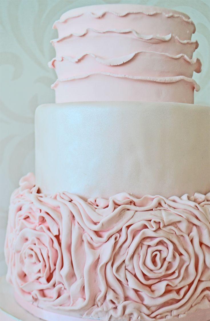 Pink Ruffled Rose Wedding Cake by Bake Sale Toronto.