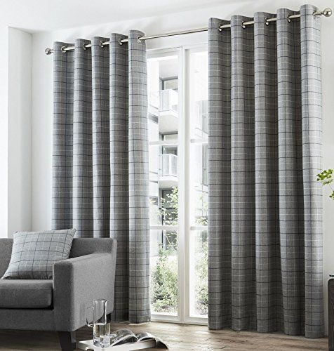 "Bravo Checked Lined Curtains 66"" x 90"" Plaid Tartan Charcoal Grey Black Pair Of Ready Made Eyelet Ring Top Hallways ® Hallways http://www.amazon.co.uk/dp/B017UBLUDC/ref=cm_sw_r_pi_dp_xwECwb1QP3SY5"