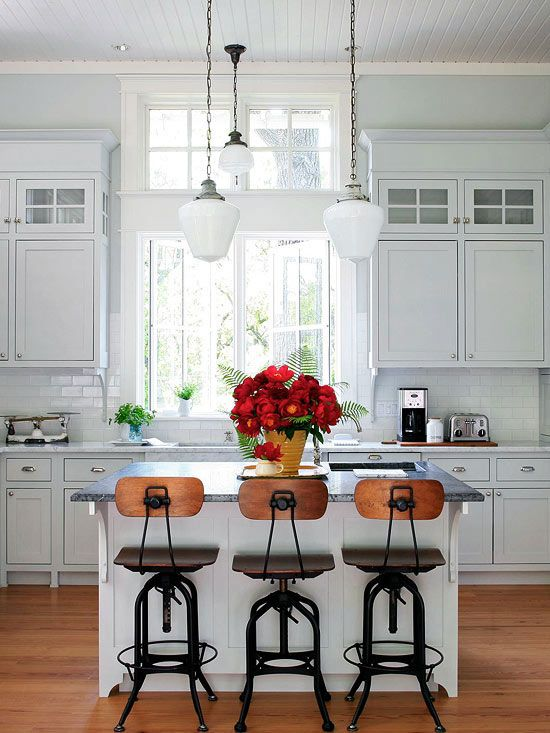 Bright and airy kitchen: Window, Bar Stools, Kitchen Ideas, Light Fixture, Barstool, White Kitchens